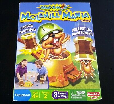 Whack Whac a Mole Hill Molehill Mania Family Board Game 2 players (COMPLETE)