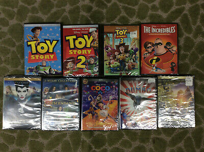 Lot of 9 Brand New Disney DVD's Toy Story 1,2,3 The Incredibles, Dumbo, Coco