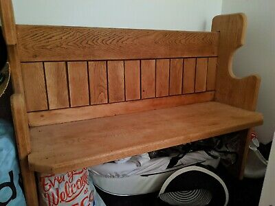 Solid oak wooden church pew bench seat