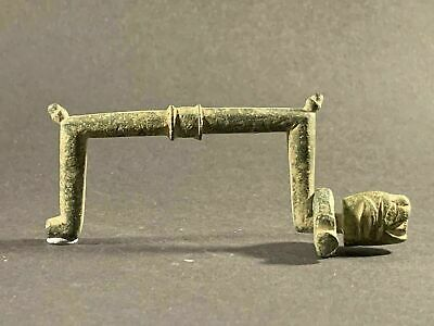 Ancient Viking Norse Bronze Handle Depicting Zoomorphic Face - Circa 900-1000Ad