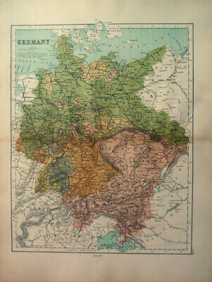 Antique Map Of Germany Bohemia Bravaria Prussia  1871