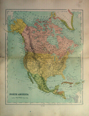 Antique Map Of North America United States British Colombia USA 1871