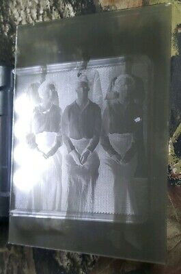 "Antique Glass Dry Plate Photo Negative 5""×7"" Photograph Of Men And Women Family"