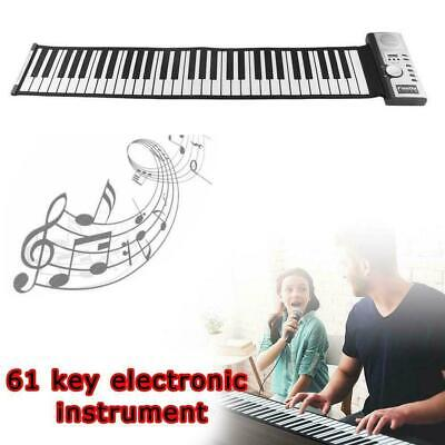 Portable Electronic Keyboard Piano Roll Up Flexible Silicone Digital 61 Key R8S0