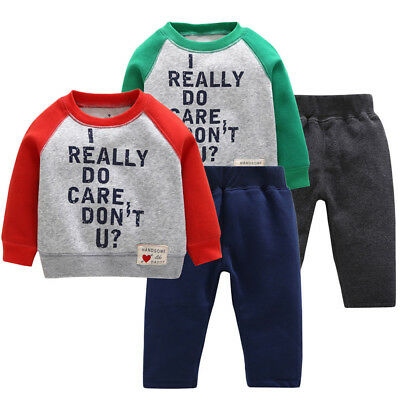 Toddler Kid Baby Boy Bodysuit Casual Printed Warm Tops Pants Tracksuit Outfits L