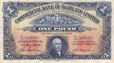 #Commercial Bank of Scotland 1 Pound 1939 P-S331 AF Sir John Pitcairn