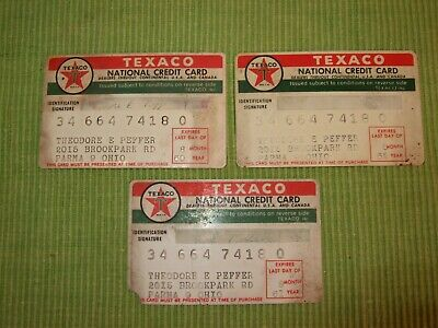 Lot of 3 1960 1961 1962 Gas Oil Collectible TEXACO National Credit Cards Signed