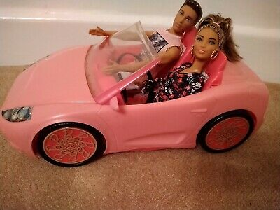 Barbie Glam Convertible pink car with Barbie & Ken dolls