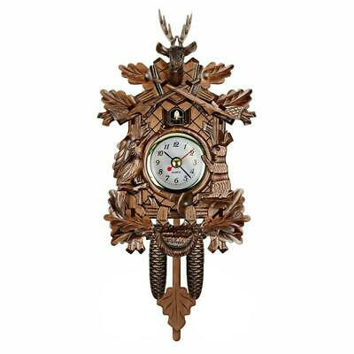 Antique Mini Cuckoo Clock Vintage Forest Quartz Swing Decor Wall Art Alarm M7T1