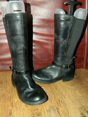 girls Geox Respira black leather knee high zip up boots uk 2.5 eur 35