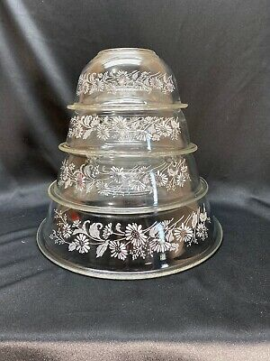 Set of 4 Vintage PYREX Clear Glass Nesting Mixing Bowls White Colonial Mist