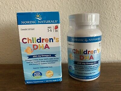 Nordic Naturals Children's DHA 250 mg Omega-3 180 ct 02/21 Wild Caught Non GMO