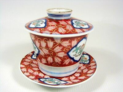 Antique Chinese 19th C Canton Porcelain Covered Cup & Saucer Painted Decoration