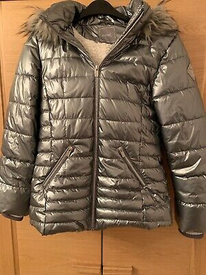 Girls Next Puffa Silver Metallic Jacket With Fur Hood Detail Aged 12