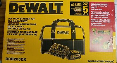 Dewalt DCB205CK 12-20 Volt 5.0 Amp Hour Battery, Bag, And Charger Kit.