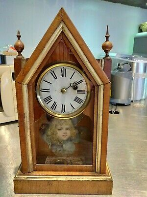 steeple SHELF mantel mantle CLOCK New England ANTIQUE TEUTONIA Haven Connecticut