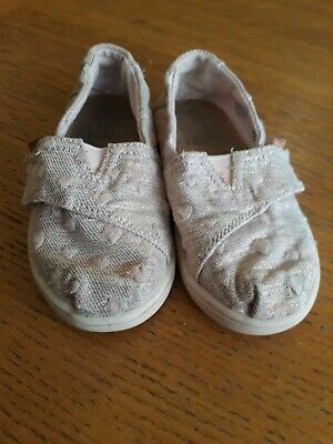 Toms Shoes in Infant size 6. Silver and pink. Girls