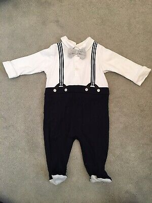Mamas And Papas Babygro Bow Tie Braces Outfit. Worn Once age 0-3 Months