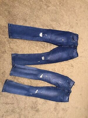 Skinny Boys Jeans Age 11-12 Years Used primark Blue Ripped Design
