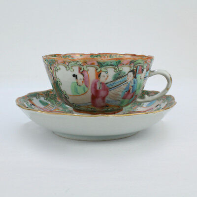 Antique Rose Medallion Chinese Porcelain Tea Cup & Saucer - Export PC