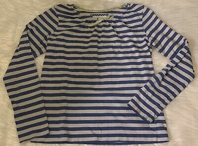 MINI BODEN Girls Blue White Striped Long Sleeve Shirt Size 9/10 Y