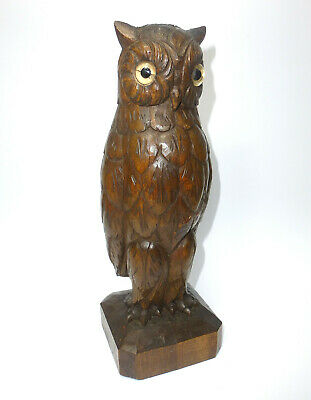 Carved Wood Owl with Glass Eyes 1900 Owl Owl B-669