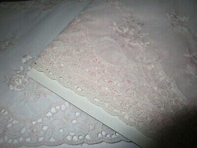 Vintage Rare Beautiful   Swiss Palest Pink Silk  Organza Double Edge Wide Lace
