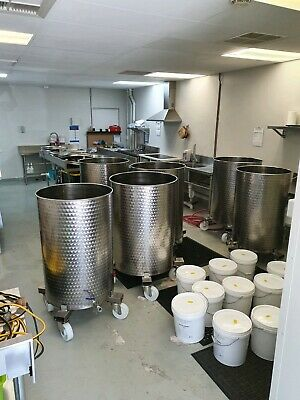 Stainless Steel VC Tanks on custom made wheels. Micro brewery etc