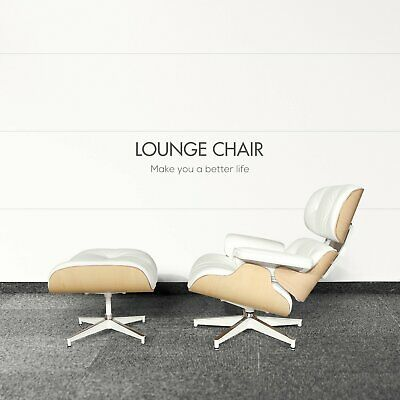 Premium Eames Lounge Chair and Ottoman Italian White Leather Real Walnut Wood US