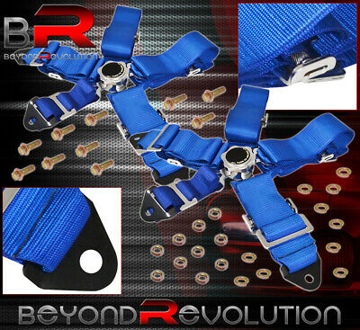 For Smart X2 3 Inch 5-Pt Nylon Shoulder Harness Seat Belt Camlock Unit Kit Blue