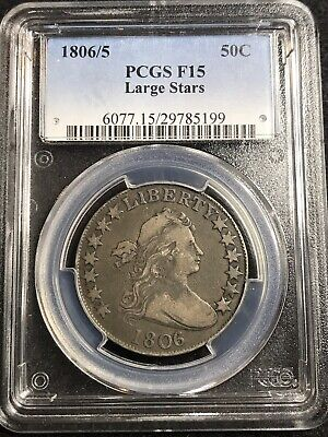 1806/5 Draped Bust Half Dollar 50C Coin Large Stars - Certified PCGS F15