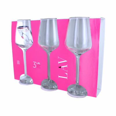 Lav LAL White Wine Glasses Contemporary Drinking Glass Set, 295 ml Pack of 3 UK