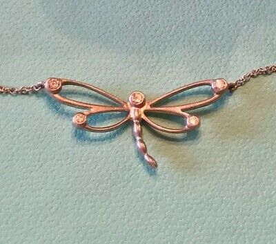 NEW TIFFANY & Co. Sterling Silver Diamond Dragonfly Pendant Necklace Rare!