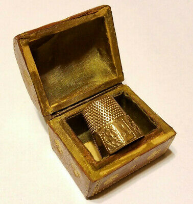 SEWING THIMBLE 9 Double ANCHOR Hallmark & TREASURE CHEST HOLDER Gold Filled ?