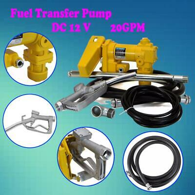New 12 Volt 20GPM Fuel Transfer Pump Oil Diesel Gasoline Car Tractor Truck 265W