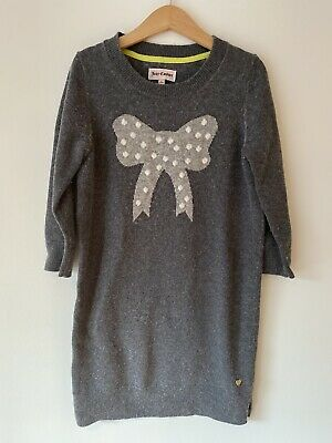 JUICY COUTURE Grey Bow Girls Wool Mix Jumper Dress SizeL Age 8 9 10 *GORGEOUS*