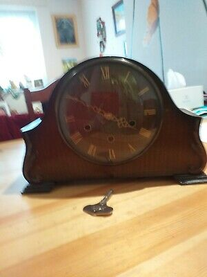 Vintage Smiths Enfield Wooden Case Roman Numeral Mantle Clock Made Great Britain
