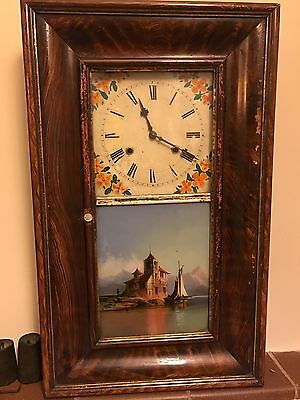 Antique American Wooden Case wall clock - Decorative Scene / Clock Face