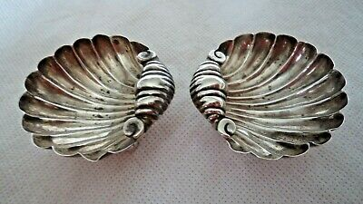 Pair Victorian 1896 Solid / Sterling Silver Scallop / Shell Dishes
