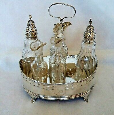 18Th Century Antique George Iii 1792 Sterling Solid Silver Cruet / Condiment Set