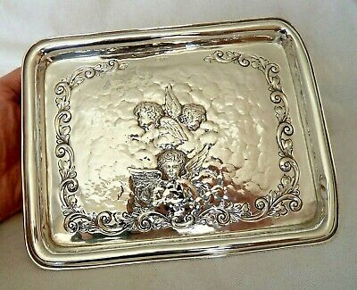 Large Victorian Chester 1901 Cherub Solid / Sterling Silver Dressing Table Tray