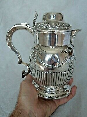 FINE ANTIQUE GEORGIAN c1750 SOLID / STERLING SILVER 1.75 PINT BEER / ALE TANKARD