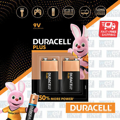 2x DURACELL 9V Plus Power Alkaline Batteries DURALOCK 6LR61 MN1604 Longest Expir