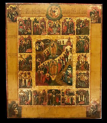 "18 cent.  PALECH ANTIQUE RUSSIAN HAND PAINTED ICON ""RESURRECTION of CHRIST"""