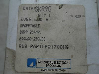 (L9) 1 Amerace Russell Stoll Receptacle Skr9G Ever-Lok 20A 600Vac