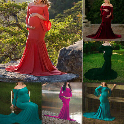 Women Pregnant Photography Props Maternity Off Shoulders Flare Sleeve Dress LIU9