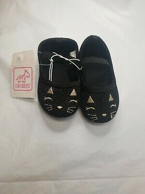 Black & Gold Kitten/Cat Toddler Girls Size 5 Slip On Shoes Sparkly New With Tags