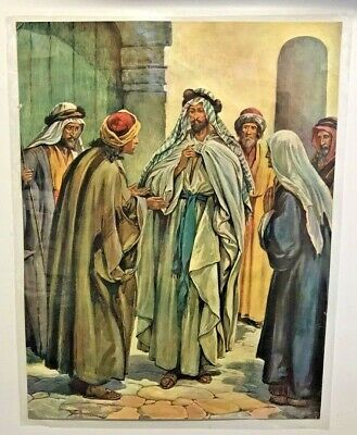 Genuine Vintage Religious Bible Sunday School Poster Jesus Ambitious Brothers