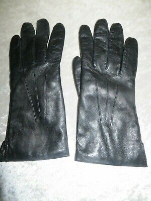 Vintage Dents Black Leather Gloves  Wool Knitted Lining Size 7.5
