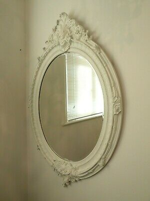 Large White Ornate Oval Mirror Antique French Style 175 00 Picclick Uk